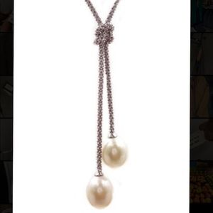 Savvy Cie Silver Cultured Pearl Knot ❤️ Necklace